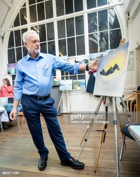 Labour Party leader Jeremy tries his hand at painting during a visit to a community centre at the Kirkgate Centre in Shipley to participate in...