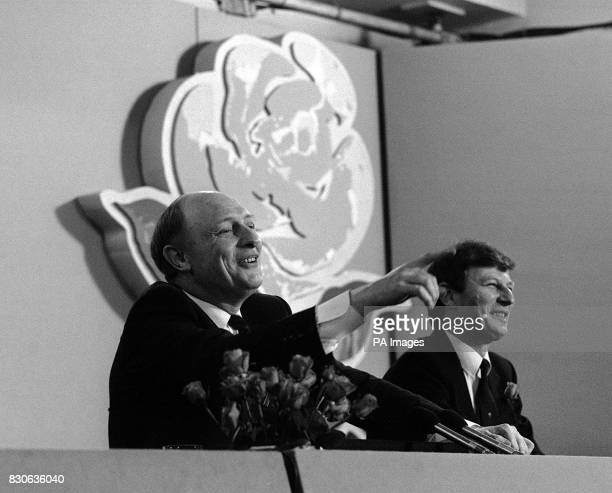 Labour Party leader Neil Kinnock making his point as he fields press questions at the party's daily conference in London with Bryan Gould sharing the...