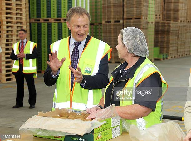 Labour Party leader Phil Goff meets workers on the Kiwifruit packing lines at the Trevelyan Kiwi Fruit Orchard on November 16 2011 in Te Puke New...