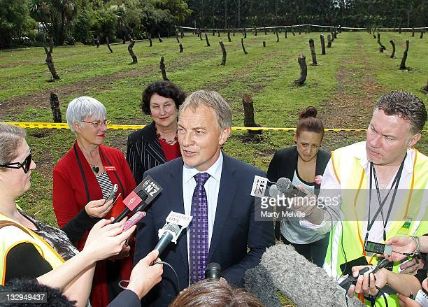 Labour Party leader Phil Goff speaks to the media in front of a section of Gold Kiwifruit vines that were cut out due to PSA disease at the Trevelyan...