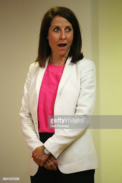 Labour party leadership candidate Liz Kendall reacts as she speaks to party supporters on August 18 2015 in London England Ms Kendall who is running...