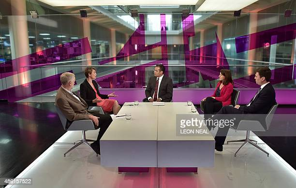 Labour Party leadership candidates Jeremy Corbyn Yvette Cooper Liz Kendall and Andy Burnham answer questions from presenter Krishnan GuruMurthy...