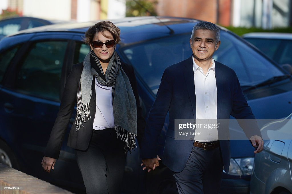 Labour Party Mayoral candidate Sadiq Khan and his wife Saadiya arrive at The Richardson Hall St Alban's Church Centre in Streatham to cast their votes in London's Mayoral and Assembly elections on May 5, 2016 in London, England. This is the fifth mayoral election since the position was created in 2000. Previous London Mayors are Ken Livingstone for Labour and more recently Boris Johnson for the Conservatives. The main candidates for 2016 are Sadiq Khan, Labour, Zac Goldsmith , Conservative, Sian Berry, Green, Caroline Pidgeon, Liberal Democrat, George Galloway, Respect, Peter Whittle, UKIP and Sophie Walker, Woman's Equality Party. Results will be declared on Friday 6th May.
