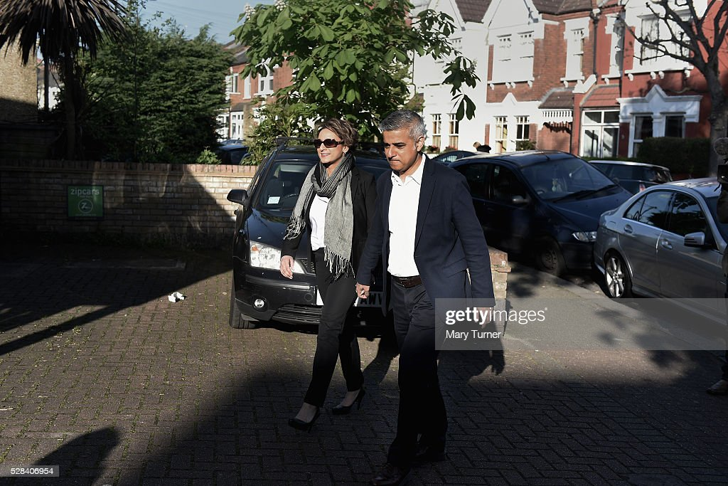 Labour Party Mayoral candidate <a gi-track='captionPersonalityLinkClicked' href=/galleries/search?phrase=Sadiq+Khan&family=editorial&specificpeople=3431876 ng-click='$event.stopPropagation()'>Sadiq Khan</a> and his wife Saadiya arrive at The Richardson Hall St Alban's Church Centre in Streatham to cast their votes in London's Mayoral and Assembly elections on May 5, 2016 in London, England. This is the fifth mayoral election since the position was created in 2000. Previous London Mayors are Ken Livingstone for Labour and more recently Boris Johnson for the Conservatives. The main candidates for 2016 are <a gi-track='captionPersonalityLinkClicked' href=/galleries/search?phrase=Sadiq+Khan&family=editorial&specificpeople=3431876 ng-click='$event.stopPropagation()'>Sadiq Khan</a>, Labour, Zac Goldsmith , Conservative, Sian Berry, Green, Caroline Pidgeon, Liberal Democrat, George Galloway, Respect, Peter Whittle, UKIP and Sophie Walker, Woman's Equality Party. Results will be declared on Friday 6th May.