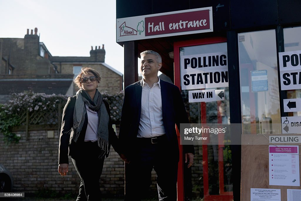 Labour Party Mayoral candidate <a gi-track='captionPersonalityLinkClicked' href=/galleries/search?phrase=Sadiq+Khan&family=editorial&specificpeople=3431876 ng-click='$event.stopPropagation()'>Sadiq Khan</a> and his wife Saadiya leave The Richardson Hall St Alban's Church Centre in Streatham after casting their votes in London's Mayoral and Assembly elections on May 5, 2016 in London, England. This is the fifth mayoral election since the position was created in 2000. Previous London Mayors are Ken Livingstone for Labour and more recently Boris Johnson for the Conservatives. The main candidates for 2016 are <a gi-track='captionPersonalityLinkClicked' href=/galleries/search?phrase=Sadiq+Khan&family=editorial&specificpeople=3431876 ng-click='$event.stopPropagation()'>Sadiq Khan</a>, Labour, Zac Goldsmith , Conservative, Sian Berry, Green, Caroline Pidgeon, Liberal Democrat, George Galloway, Respect, Peter Whittle, UKIP and Sophie Walker, Woman's Equality Party. Results will be declared on Friday 6th May.