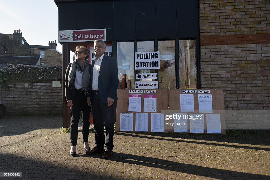 Labour Party Mayoral candidate <a gi-track='captionPersonalityLinkClicked' href=/galleries/search?phrase=Sadiq+Khan&family=editorial&specificpeople=3431876 ng-click='$event.stopPropagation()'>Sadiq Khan</a> and his wife Saadiya pose outside The Richardson Hall St Alban's Church Centre in Streatham after casting their votes in London's Mayoral and Assembly elections on May 5, 2016 in London, England. This is the fifth mayoral election since the position was created in 2000. Previous London Mayors are Ken Livingstone for Labour and more recently Boris Johnson for the Conservatives. The main candidates for 2016 are <a gi-track='captionPersonalityLinkClicked' href=/galleries/search?phrase=Sadiq+Khan&family=editorial&specificpeople=3431876 ng-click='$event.stopPropagation()'>Sadiq Khan</a>, Labour, Zac Goldsmith , Conservative, Sian Berry, Green, Caroline Pidgeon, Liberal Democrat, George Galloway, Respect, Peter Whittle, UKIP and Sophie Walker, Woman's Equality Party. Results will be declared on Friday 6th May.