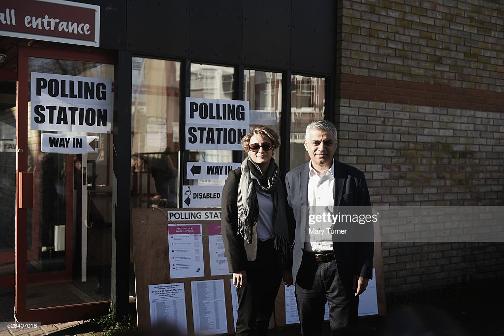 Labour Party Mayoral candidate Sadiq Khan and his wife Saadiya pose outside The Richardson Hall St Alban's Church Centre in Streatham after casting their votes in London's Mayoral and Assembly elections on May 5, 2016 in London, England. This is the fifth mayoral election since the position was created in 2000. Previous London Mayors are Ken Livingstone for Labour and more recently Boris Johnson for the Conservatives. The main candidates for 2016 are Sadiq Khan, Labour, Zac Goldsmith , Conservative, Sian Berry, Green, Caroline Pidgeon, Liberal Democrat, George Galloway, Respect, Peter Whittle, UKIP and Sophie Walker, Woman's Equality Party. Results will be declared on Friday 6th May.