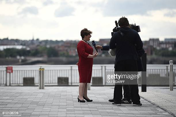 Labour Party member of parliament Emily Thornberry is interviewed following the Labour Party Leadership Conference in Liverpool on September 24 2016...