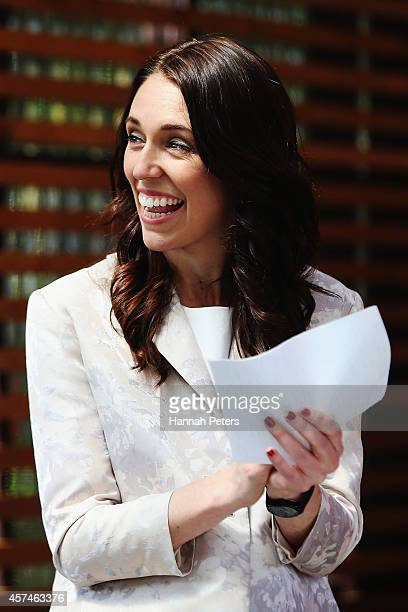 Labour Party MP Jacinda Ardern attends Labour leadership hopeful Grant Robertson's Labour Party leadership campaign launch at Kings Arms Pub on...