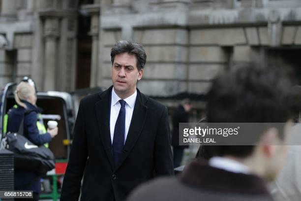Labour Party politician and former party leader Ed Miliband walks along Whitehall in central London near the Houses of Parliament on March 23 2017...