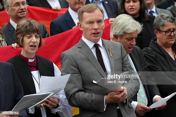 Labour Party politician Chris Bryant speaks at a tribute of the victims of the Orlando bombings held opposite the house of commons on June 13 2016 in...
