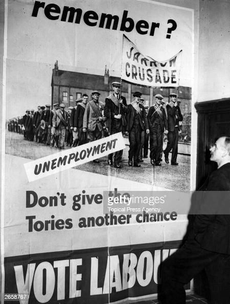 A Labour Party poster for the general election depicting the Jarrow Crusade