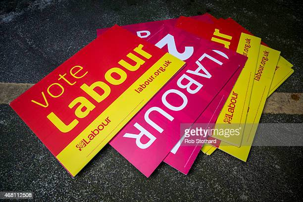 Labour Party posters are seen on the ground of a secure car park at the London Labour Party headquarters on March 30 2015 in London England British...