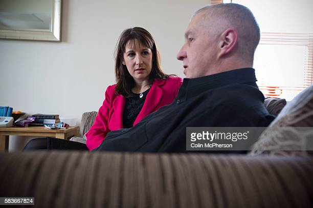 Labour Party shadow cabinet member Rachel Reeves pictured on a visit to the home in Sale of Anthony Cunning during campaigning in the Wythenshawe and...