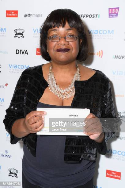 Labour Party Shadow Home Secretary Diane Abbott poses with her award for 'Icon of the Year' at the Diversity in Media Awards on September 15 2017 in...