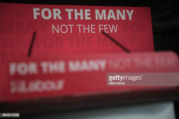 Labour Party slogan For The Many Not The Few at a press conference podium in London England United Kingdom These words became synonymous with the...