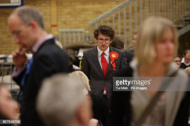 A Labour party supporter is seen at the General election count for the London Borough of Richmond upon Thames at Richmond upon Thames College