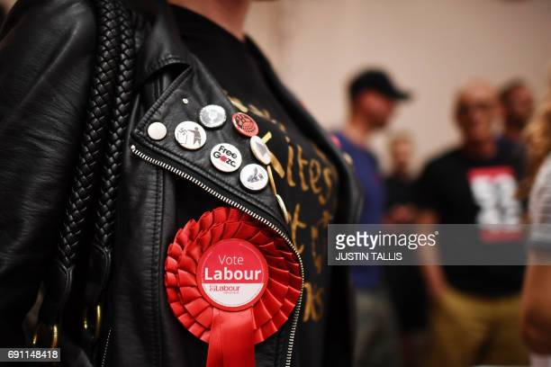 Labour Party supporters arrive for an election campaign speech by opposition Labour party leader Jeremy Corbyn in Basildon on June 1 2017 / AFP PHOTO...