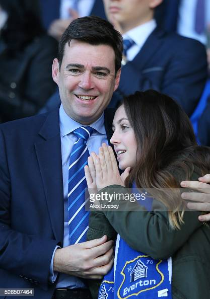 Labour politician Andy Burnham looks on from the stand prior to the Barclays Premier League match between Everton and AFC Bournemouth at Goodison...