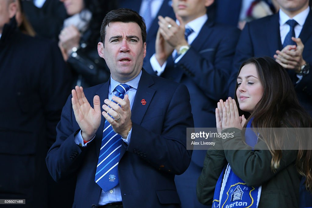 Labour politician Andy Burnham looks on from the stand prior to the Barclays Premier League match between Everton and A.F.C. Bournemouth at Goodison Park on April 30, 2016 in Liverpool, England.