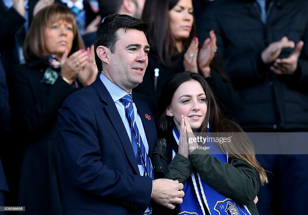 Labour politician <a gi-track='captionPersonalityLinkClicked' href=/galleries/search?phrase=Andy+Burnham&family=editorial&specificpeople=469823 ng-click='$event.stopPropagation()'>Andy Burnham</a> looks on from the stand prior to the Barclays Premier League match between Everton and A.F.C. Bournemouth at Goodison Park on April 30, 2016 in Liverpool, England.