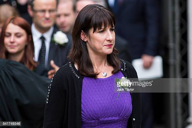 Labour politician Rachel Reeves leaves following a remembrance service for Jo Cox at St Margaret's church on June 20 2016 in London England...