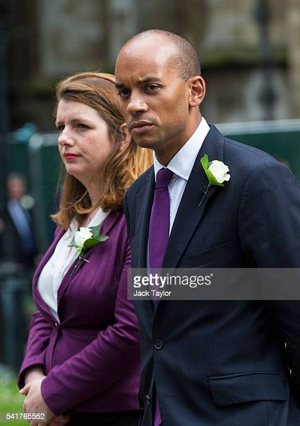 Labour politicians Chuka Umunna and Alison McGovern arrive for a remembrance service for Jo Cox at St Margaret's church on June 20 2016 in London...