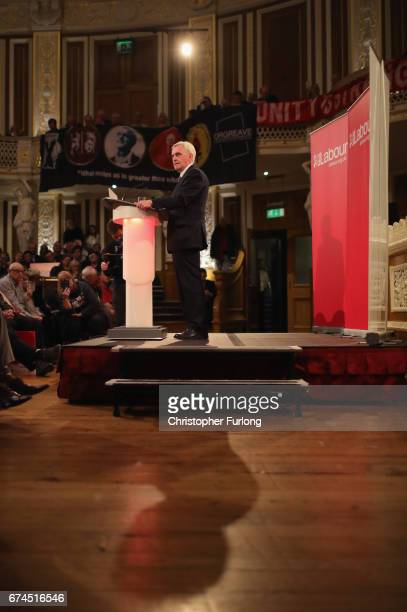 Labour Shadow Chancellor John McDonnell addresses supporters in the Concert Room of St Georges Hall on April 28 2017 in Liverpool England During his...