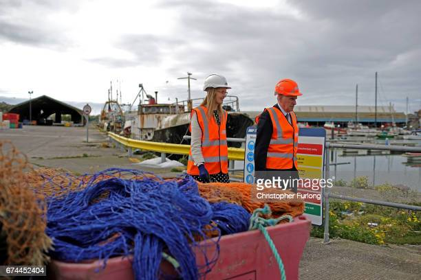 Labour Shadow Chancellor John McDonnell and Cat Smith tour the dockside during an election campaign visit to Fleetwood Fishing Port on April 28 2017...