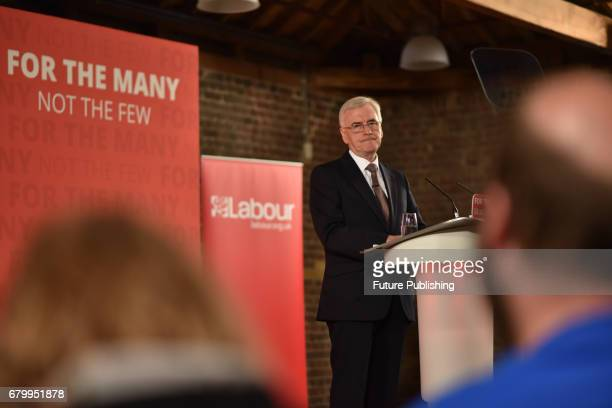 Labour Shadow Chancellor John McDonnell gives a speech on Labour Partys' fiscal sustainability plans on May 7 2017 in Docklands Australia Matthew...
