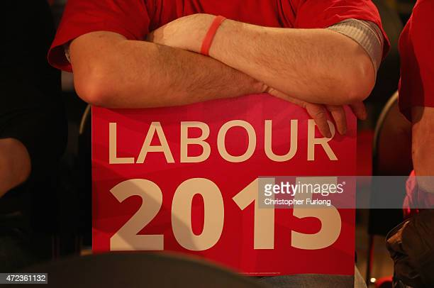 Labour supporters listen to Labour leader Ed Miliband speak during a campaign rally at Leeds City Museum on May 6 2015 in Leeds England Britain's...