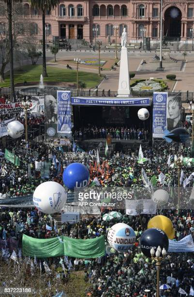 Labour unions stage a protest against the economy and social policies of Argentina's President Mauricio Macri at the Plaza de Mayo square in Buenos...