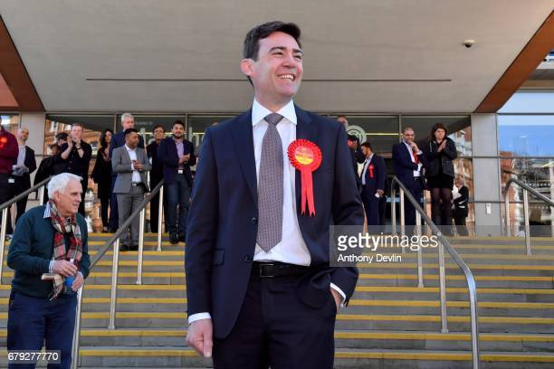 Labour's Andy Burnham celebrates winning the Greater Manchester mayoral election outside Manchester Central on May 5 2017 in Manchester England Six...