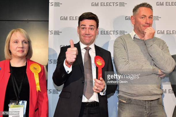 Labour's Andy Burnham gives the thumbs up as he celebrates winning the Greater Manchester mayoral election at Manchester Central on May 5 2017 in...