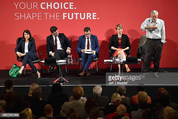 Labours candidate for Leader Jeremy Corbyn takes part in a hustings in The Old Fruitmarket Candleriggs on July 10 2015 in Glasgow Scotland The four...