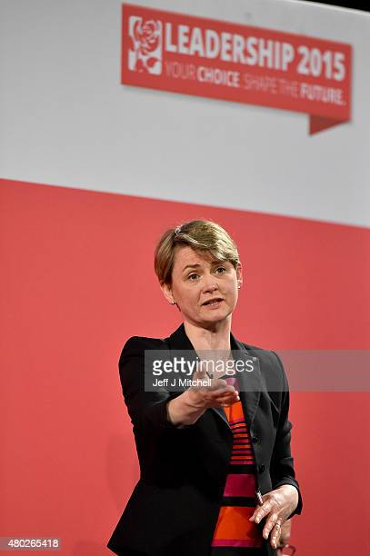 Labours candidate for Leader Yvette Cooperl takes part in a hustings in The Old Fruitmarket Candleriggs on July 10 2015 in Glasgow Scotland The four...