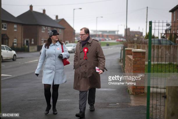 Labour's candidate for the StokeonTrent Central byelection Gareth Snell and Stoke North MP Ruth Smeeth campaign on the doorsteps of homes in Bentilee...