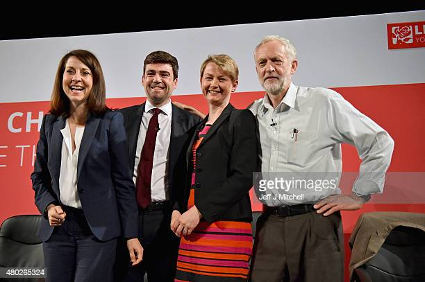 Labours candidates for Leader and Deputy Leader Liz Kendall Andy Burnham Yvette Cooper and Jeremy Corbyn take part in a hustings in The Old...