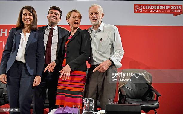 Labours candidates for Leader and Deputy Leader Liz KendallAndy Burnham Yvette Cooper and Jeremy Corbyn take part in a hustings in The Old...
