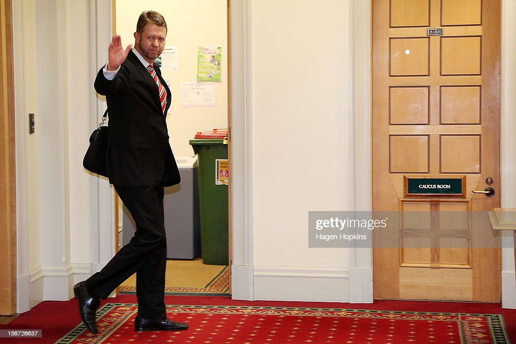 Labour's economic development spokesman David Cunliffe makes his way to the caucus room at Parliament on November 20, 2012 in Wellington, New Zealand. Labour party members were called to a leadership vote meeting today after speculation of a leadership challenge by economic development spokesman David Cunliffe.