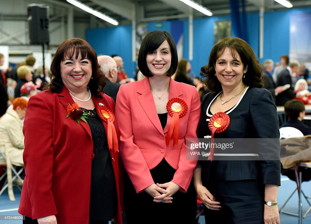 Labour's first three elected MPs Sharon Hodgson Bridget Phillipson and Julie Elliott at the Sunderland Election Count on May 7 2015 in Sunderland...