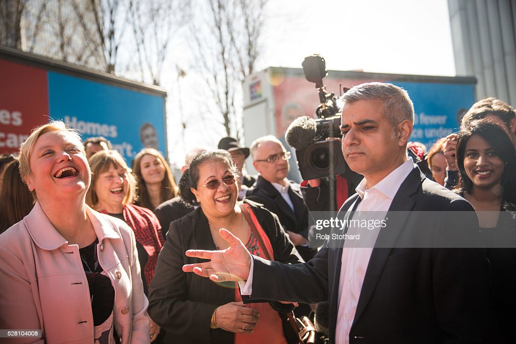 Labour's London Mayoral candidate <a gi-track='captionPersonalityLinkClicked' href=/galleries/search?phrase=Sadiq+Khan&family=editorial&specificpeople=3431876 ng-click='$event.stopPropagation()'>Sadiq Khan</a> and member of Parliament for Tooting speaks to supporters in Montgomery Square in Canary Wharf on May 4, 2016 in London, England. Londoners will go to the polls tomorrow to vote for Mayor Of London with Labour's candidate expected to beat Conservative Party rival Zac Goldsmith to the position.