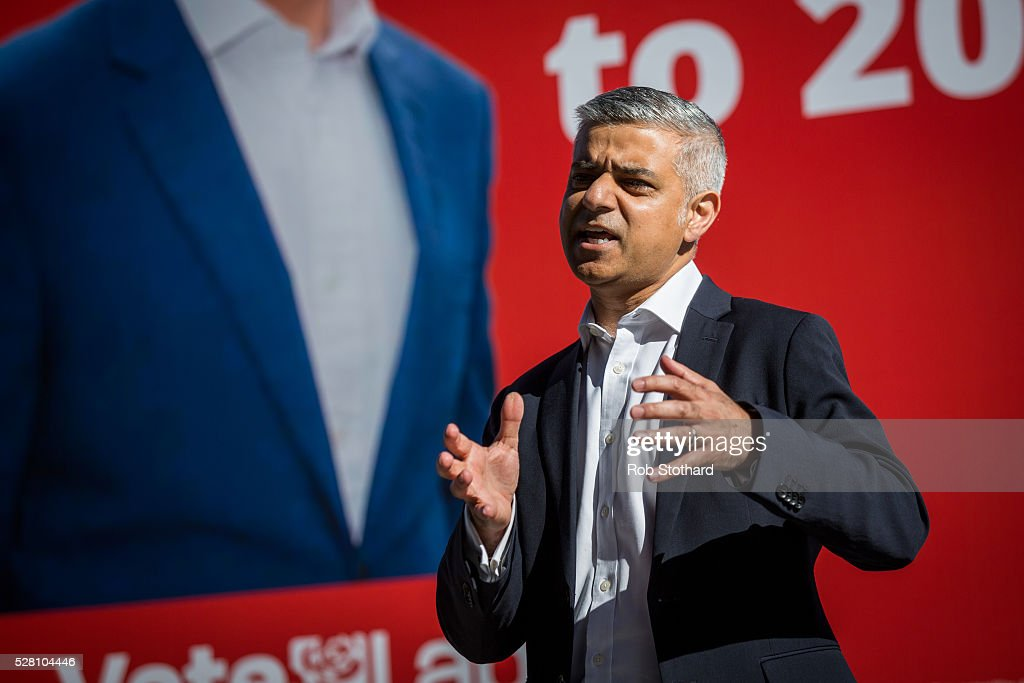 Labour's London Mayoral candidate Sadiq Khan and member of Parliament for Tooting speaks to supporters in Montgomery Square in Canary Wharf on May 4, 2016 in London, England. Londoners will go to the polls tomorrow to vote for Mayor Of London with Labour's candidate expected to beat Conservative Party rival Zac Goldsmith to the position.