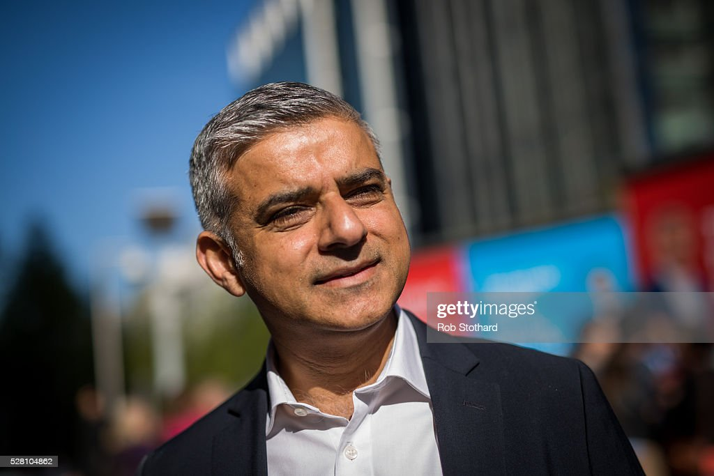 Labour's London Mayoral candidate Sadiq Khan and member of Parliament for Tooting speaks to journalists in Montgomery Square in Canary Wharf on May 4, 2016 in London, England. Londoners will go to the polls tomorrow to vote for Mayor Of London with Labour's candidate expected to beat Conservative Party rival Zac Goldsmith to the position.