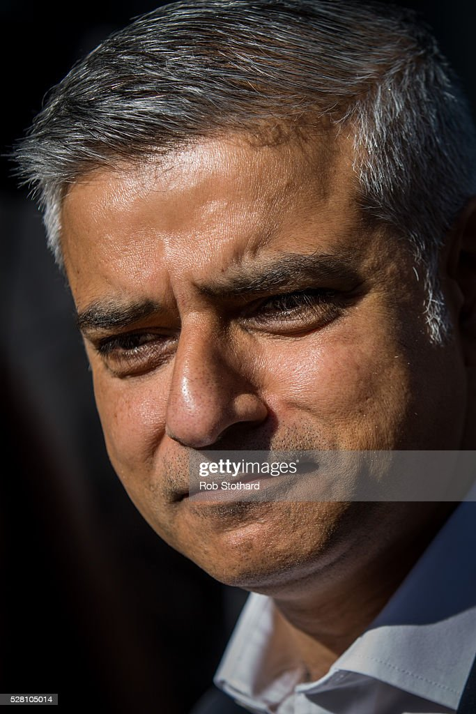 Labour's London Mayoral candidate <a gi-track='captionPersonalityLinkClicked' href=/galleries/search?phrase=Sadiq+Khan&family=editorial&specificpeople=3431876 ng-click='$event.stopPropagation()'>Sadiq Khan</a> and member of Parliament for Tooting speaks to journalists in Montgomery Square in Canary Wharf on May 4, 2016 in London, England. Londoners will go to the polls tomorrow to vote for Mayor Of London with Labour's candidate expected to beat Conservative Party rival Zac Goldsmith to the position.
