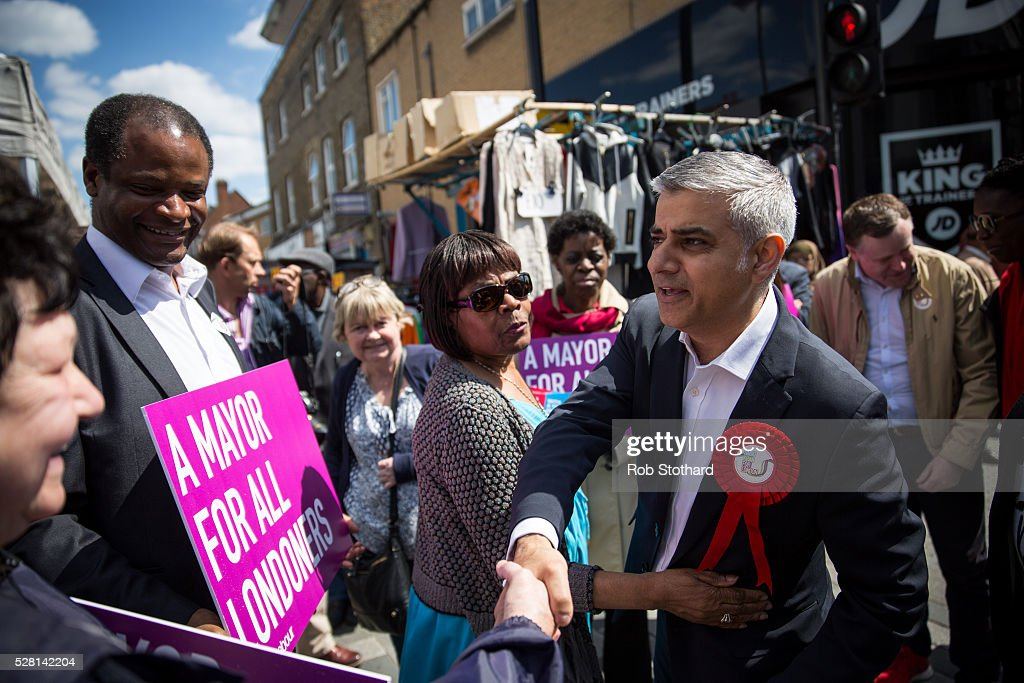 Labour's London Mayoral candidate <a gi-track='captionPersonalityLinkClicked' href=/galleries/search?phrase=Sadiq+Khan&family=editorial&specificpeople=3431876 ng-click='$event.stopPropagation()'>Sadiq Khan</a> and member of Parliament for Tooting speaks to supporters at East Street Market in Walworth on May 4, 2016 in London, England. Londoners will go to the polls tomorrow to vote for Mayor Of London with Labour's candidate expected to beat Conservative Party rival Zac Goldsmith to the position.