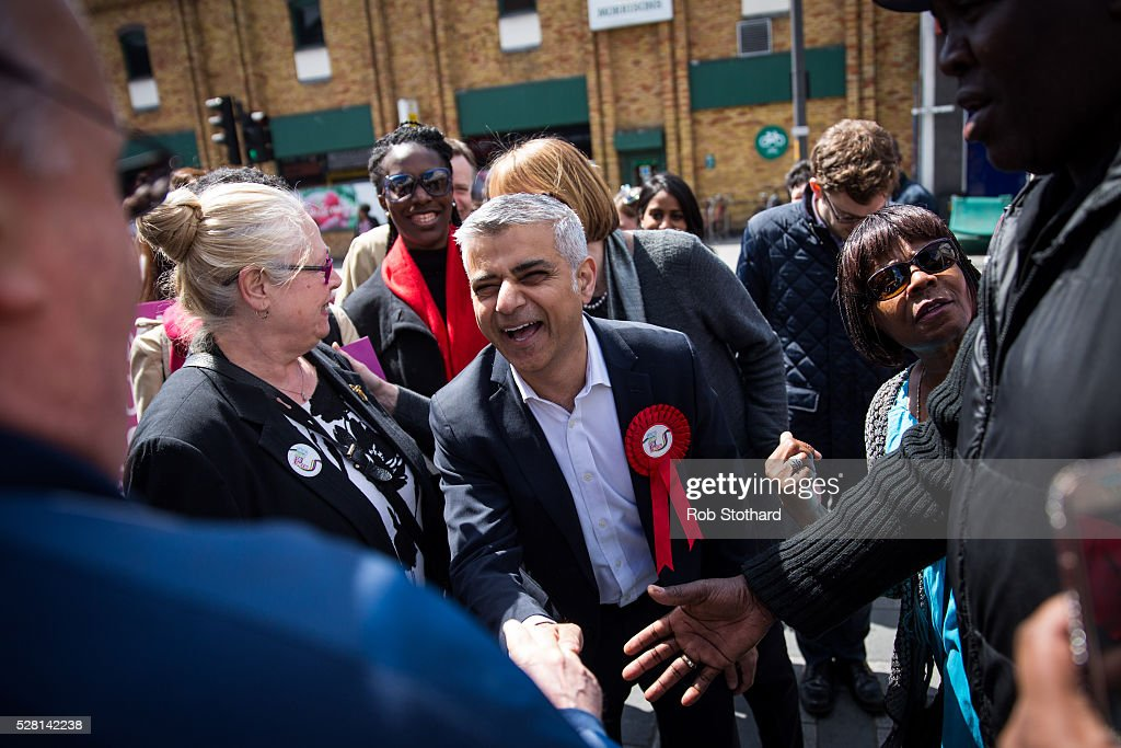 Labour's London Mayoral candidate Sadiq Khan and member of Parliament for Tooting speaks to supporters at East Street Market in Walworth on May 4, 2016 in London, England. Londoners will go to the polls tomorrow to vote for Mayor Of London with Labour's candidate expected to beat Conservative Party rival Zac Goldsmith to the position.