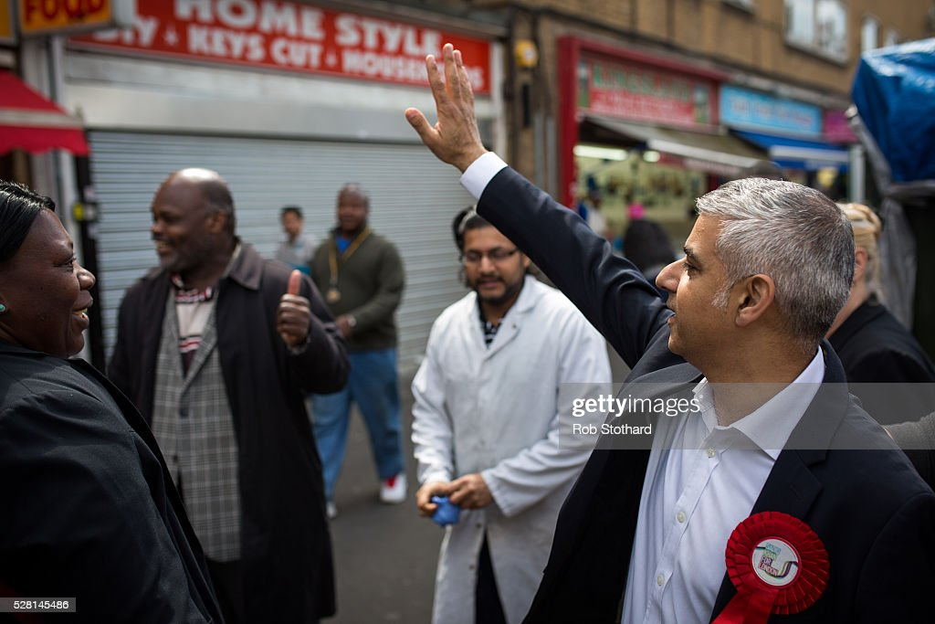 Labour's London Mayoral candidate <a gi-track='captionPersonalityLinkClicked' href=/galleries/search?phrase=Sadiq+Khan&family=editorial&specificpeople=3431876 ng-click='$event.stopPropagation()'>Sadiq Khan</a> and member of Parliament for Tooting speaks to traders at East Street Market in Walworth on May 4, 2016 in London, England. Londoners will go to the polls tomorrow to vote for Mayor Of London with Labour's candidate expected to beat Conservative Party rival Zac Goldsmith to the position.