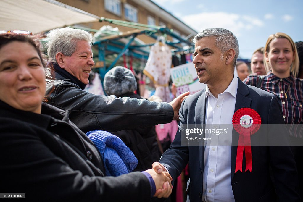 Labour's London Mayoral candidate <a gi-track='captionPersonalityLinkClicked' href=/galleries/search?phrase=Sadiq+Khan&family=editorial&specificpeople=3431876 ng-click='$event.stopPropagation()'>Sadiq Khan</a> and member of Parliament for Tooting speaks to shoppers at East Street Market in Walworth on May 4, 2016 in London, England. Londoners will go to the polls tomorrow to vote for Mayor Of London with Labour's candidate expected to beat Conservative Party rival Zac Goldsmith to the position.