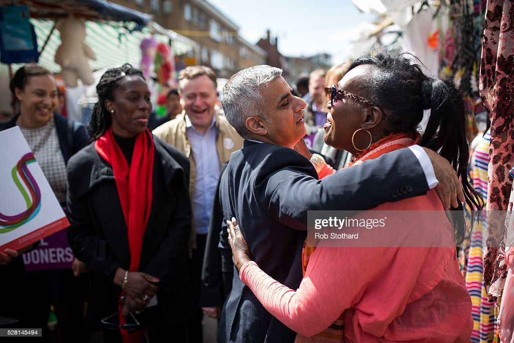 Labour's London Mayoral candidate <a gi-track='captionPersonalityLinkClicked' href=/galleries/search?phrase=Sadiq+Khan&family=editorial&specificpeople=3431876 ng-click='$event.stopPropagation()'>Sadiq Khan</a> and member of Parliament for Tooting speaks to a trader at East Street Market in Walworth on May 4, 2016 in London, England. Londoners will go to the polls tomorrow to vote for Mayor Of London with Labour's candidate expected to beat Conservative Party rival Zac Goldsmith to the position.